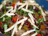 Red Rice and Black Beans with Peppers and Cilantro