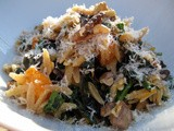Roasted Butternut Orzo with Walnuts and Garlicky Greens
