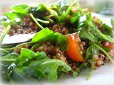 Wilted Arugula Salad with Quinoa and Cherry Tomatoes