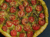 Pesto & Cherry Tomato Cheese Tart with Puff Pastry Sheet