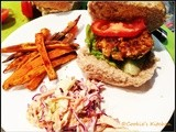 Butter Bean Burgers with Coleslaw and Baked Sweet Potato Fries