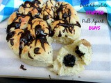 Dark Chocolate Stuffed Pull Apart Buns with Dark Chocolate Drizzle