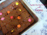 Eggless Chocolate Brownie with Gems
