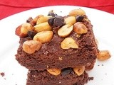 Chocolate Cookie Bars Topped With Salted Peanuts And Chocolate Chips....step by step