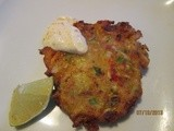 Garden Fritters . . . zucchini, onion & red pepper w/ lime-chili mayo