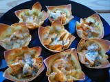 Buffalo Chicken & Bleu Cheese Stuffed Wonton Cups
