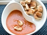 Hearty & Creamy Tomato Soup w/ Grilled Cheese Croutons