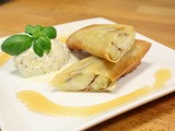 Banana spring rolls with pistachio basil ice-cream