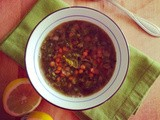 Green lentil soup with kale