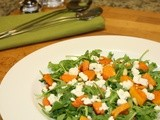 Roasted pumpkin and rocket salad with feta cheese and pine nuts