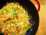 Spaghetti with Garlic Shrimp and Coriander