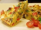 Tomato and pepper omelette with feta cheese