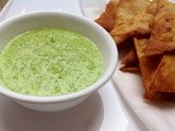 Pinenut Cilantro Pesto with Tortillas Chips