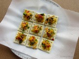 Saltine Crackers Canapes with Potato Peas Topping