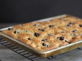 Whole Wheat Focaccia with Olives, Cheese, and Rosemary