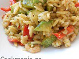 Orzo with shrimp and pesto vinaigrette