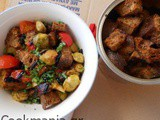 Panzanella salad with Brussels sprouts