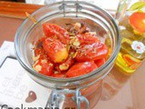 Roasted aromatic cherry tomatoes in the jar