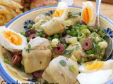 Summer Salad with artichokes and boiled eggs