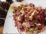 Sweet and sour coleslaw with leftover chicken