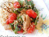 Tomato salad with smoked tuna tapenade