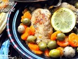 Tadjine Zitoune:Algerian Chicken Tajine with Olives,Carrots,Mushrooms