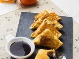 Pancakes Samosas with Citrus & Chocolate Sauce