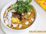 Buta Dali Aloo Kakharu Tarkari – Chana dal with potato and pumpkin curry