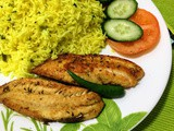 Lemon coriander rice n mixed herbed grilled fish