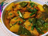Sheem aloo diye rui maacher jhol / fish with broad bean & potato / shem aloo macchi