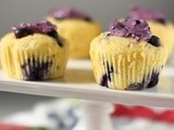 Blueberry corn muffins with blueberry-flavored mascarpone and my first giveaway