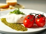Burrata with roasted vine-ripened tomatoes and pesto