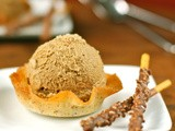 Vietnamese coffee ice cream in a cardamom, almond, and orange tuile