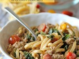 Black Truffle Pasta with Kale, Italian Sausage and Meyer Lemon Cream Sauce and a Giveaway