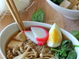 Miso Soup with Vermicelli, Mushrooms and Tofu #SundaySupper