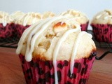 White Chocolate Chip Macadamia Nut Muffins with a White Chocolate Glaze