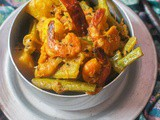 Pui Chingri Ghonto aka Malabar Spinach Mishmash with Prawns (with Potato and Pumpkin)