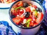 Watermelon, Black Olive and Feta Cheese Salad, a working woman's working lunch in summer