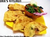 Paneer stuffed Pooris with Fresh Matar
