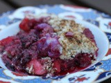 Apple, Lychee and blackberry (coconut)crumble with rose, cinnamon, cardamon and star anise