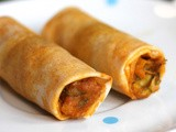 Baked spring rolls filled with paneer, courgette and sweetcorn for children