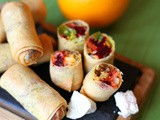 Christmas spring rolls made with paneer, butternut squash, puy lentils and beetroot