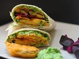 Courgette bhaji with a spiced pea, ricotta and dill puree in a wrap-National Vegetarian Week
