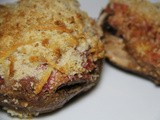Easy entertaining portobello mushrooms stuffed with creamy, spiced smoky Aubergine pulp and Beetroot