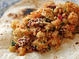 Fragrant Indian spiced mung dhal, potato, feta, toasted coconut and beetroot salad wraps-leftover Lunches