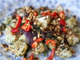 Garlic roasted cauliflower and red onion in za'atar and coriander, with chilli and toasted pine nuts