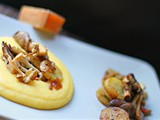 Gruyere and buttermilk polenta topped with chaat mushrooms and new potatoes- Switzerland inspired recipe for World Cup 2014