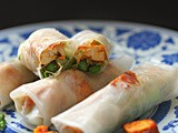 Hot and spicy tofu, alfalfa sprout and asparagus rice paper rolls