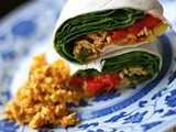 Masala paneer, roasted red pepper and spinach wraps