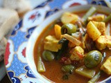 Moroccan spiced paneer, potato, asparagus and olive stew
